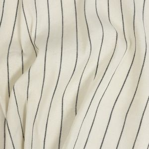 Ivory, Meteorite and Metallic Silver Pencil Striped Stretch Delave Linen and Rayon Woven