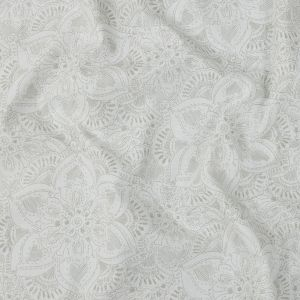 Gray and White Illustrated Floral Cotton Poplin