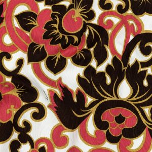 Milly Carmine Rose and Brown Floral Printed Cotton Jacquard