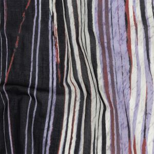 Tap Shoe, Lavender and Red Shimmery Striped Cotton Voile