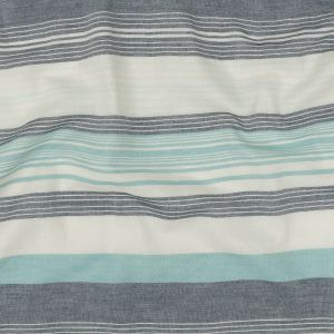 Icy Morn, Navy and Cannoli Cream Striped Cotton Double Cloth