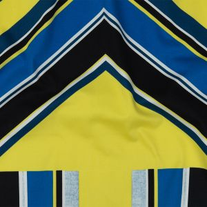 Yellow, Royal Blue and Black Large-Scale Geometric Stretch Cotton Sateen