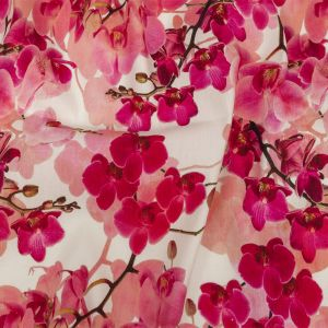 Tilted Pink Lilies and Lily White Printed Stretch Linen and Rayon Woven