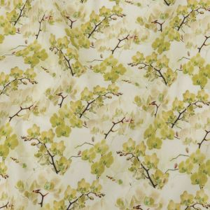 Tilted Grape Green Orchids and Tofu Printed Stretch Linen and Rayon Woven