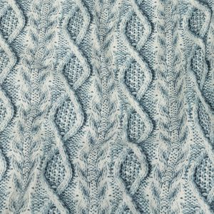 Blue Haze and Flint Stone Cable Knit Printed Stretch Linen and Rayon Woven