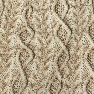 Antique White and Incense Cable Knit Printed Stretch Linen and Rayon Woven