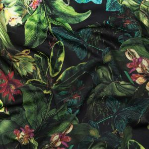 Mood Exclusive Obsidian Florals and Fauna Stretch Cotton Sateen