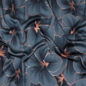 Mood Exclusive Stormy Weather and Copper Hibiscus Hex Polyester Stretch Satin