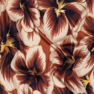 Mood Exclusive Tangerine Hibiscus Hex Polyester Stretch Satin