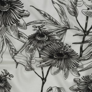 Mood Exclusive Stenciled Blossoms Sustainable Viscose and Linen Woven
