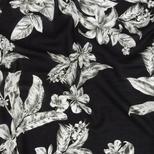 Mood Exclusive Black Snapdragon Sketches Sustainable Viscose and Linen Woven