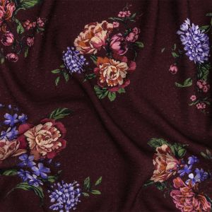 Mood Exclusive Maroon Noble Nosegay Spotted Viscose Jacquard