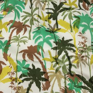 Mood Exclusive White Paradise Palms Stretch Cotton Sateen