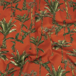 Mood Exclusive Red Orange Heart of Palm Stretch Cotton Sateen