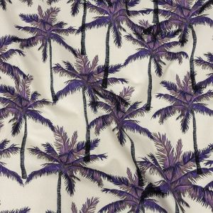 Mood Exclusive Pale Beige Psychedelic Palms Stretch Cotton Sateen