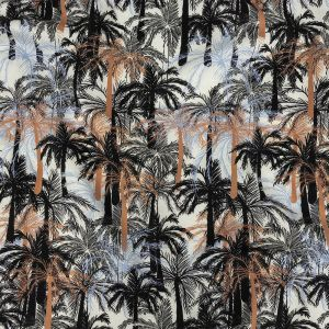 Mood Exclusive White Moonlit Palms Stretch Cotton Sateen