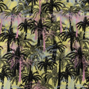Mood Exclusive Yellow Moonlit Palms Stretch Cotton Sateen