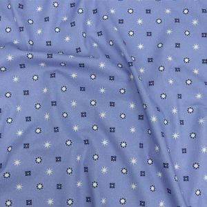 Mood Exclusive Periwinkle Stars n' Squares Stretch Cotton Poplin