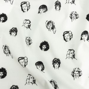 Mood Exclusive White Talking Heads Stretch Brushed Cotton Twill