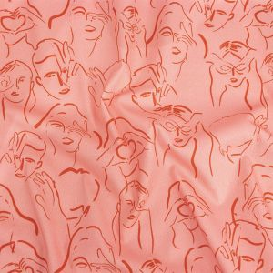 Mood Exclusive Pink Language of Love Stretch Brushed Cotton Twill