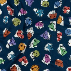 Mood Exclusive Bright Navy Face the Facts Stretch Brushed Cotton Twill