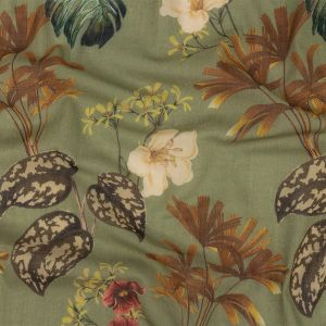 Mood Exclusive Pea Green Naturalist's Notebook Crinkled Cotton Voile