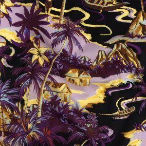 Mood Exclusive Purple and Yellow Seaside Sanctuary Cotton Voile