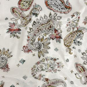 Mood Exclusive Tangerine and Yellow Memorable Motifs Printed Stretch Floral Jacquard