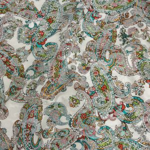 Mood Exclusive Teal and Saffron Precious Paisleys Printed Stretch Floral Jacquard