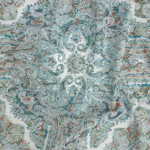 Mood Exclusive Turquoise Interlocking Configurations Printed Stretch Floral Jacquard