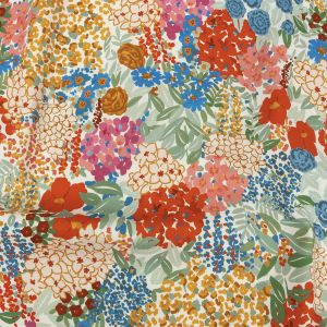 Mood Exclusive Tangerine Bunches o' Blooms Stretch Cotton Twill