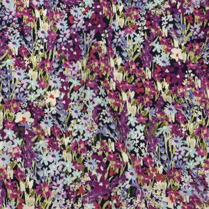 Mood Exclusive Black Wildflowers Willing Stretch Cotton Twill