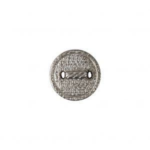 Italian Silver Faux Rope Textured Shank Back Metal Button - 20L/12.5mm