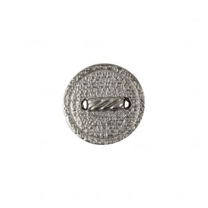 Italian Silver Faux Rope Textured Shank Back Metal Button - 24L/15mm