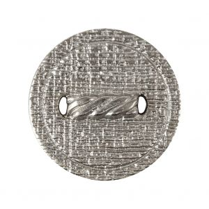 Italian Silver Faux Rope Textured Shank Back Metal Button - 44L/28mm