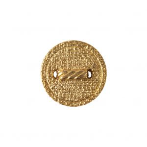 Italian Gold Faux Rope Textured Shank Back Metal Button - 30L/19mm