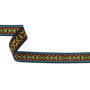 Rainbow and Black Tribal Embroidered Trimming - 1