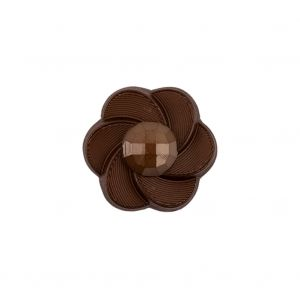 Italian Brown Floral and Geometric Shank Back Nylon Button - 32L/20mm