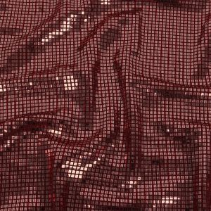 Liquid Sparks Red Squares Stretch Metallic Sequined Knit