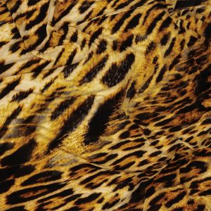 Yellow and Black Leopard Printed Stretch Polyester and Spandex Knit Jersey