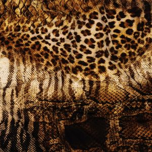 Mixed Python and Wild Cats Printed Stretch Polyester and Spandex Knit Jersey