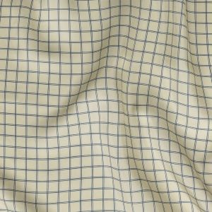 Papyrus and Twilight Blue Gridded Silk Twill
