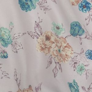 Lilac Floral Printed Linen Woven