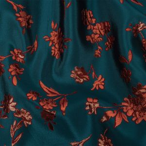Carolina Herrera Aurora Red and Teal Metallic Floral Jacquard with Red Fusible Backing