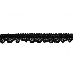 Black Ruffled Stretch Lace Trimming - 0.625