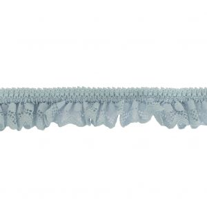 Baby Blue Ruffled Stretch Lace Trimming - 1