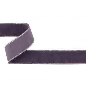 Faded Purple and Silver Metallic Lined Velvet Ribbon - 0.875