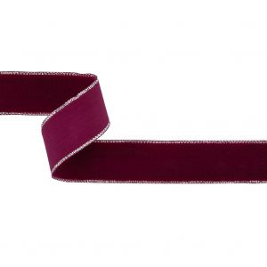 Faded Red and Silver Metallic Lined Velvet Ribbon - 0.875