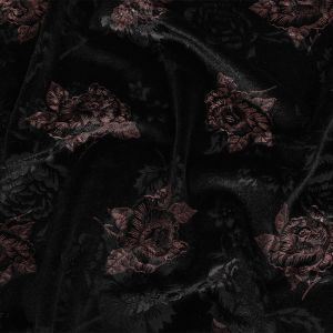 Black and Metallic Rose Gold Floral Embossed Velour