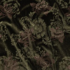 Rifle Green and Metallic Rose Gold Floral Embossed Velour
